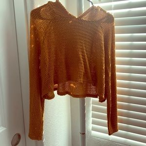 Forever 21 Mustard cropped crochet pullover